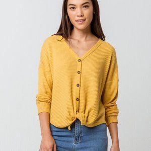 Sky & Sparrow Yellow Waffle Knit Tie Hem Thermal